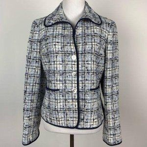 Ellen Tracy blazer sz 8 P nubby woven with pockets